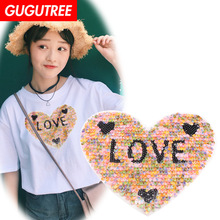 GUGUTREE embroidery Sequins big love heart patches badges applique for clothing XC-210