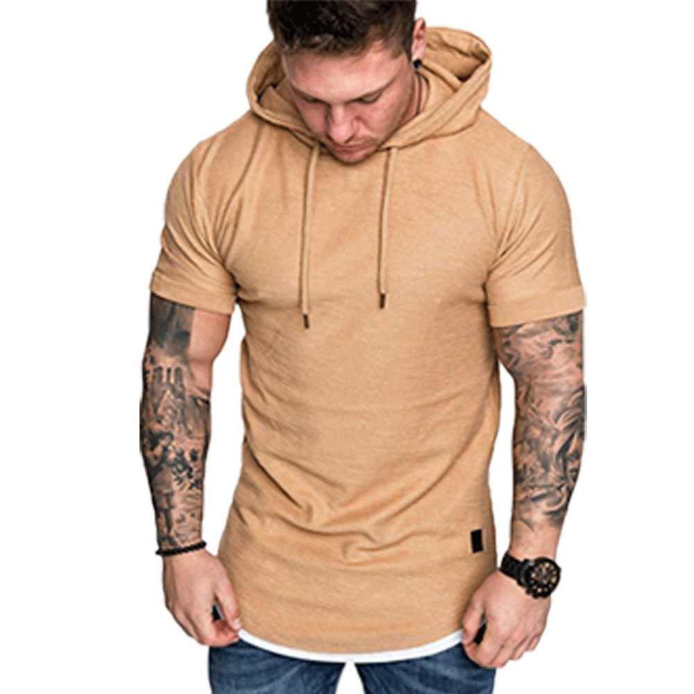 Neue Mode Männer Hoodies Kurzarm T Solide Mens Casual Mit Kapuze Sommer Männlichen Mode Top Plus UNS Größe M-2XL 2019 heißer