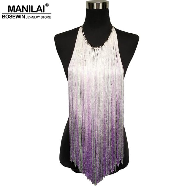 MANILAI Fashion Waterfall Yarn Multicolor Tassels Necklaces Women Bohemia Statement Pendants Necklaces Long Body Jewelry
