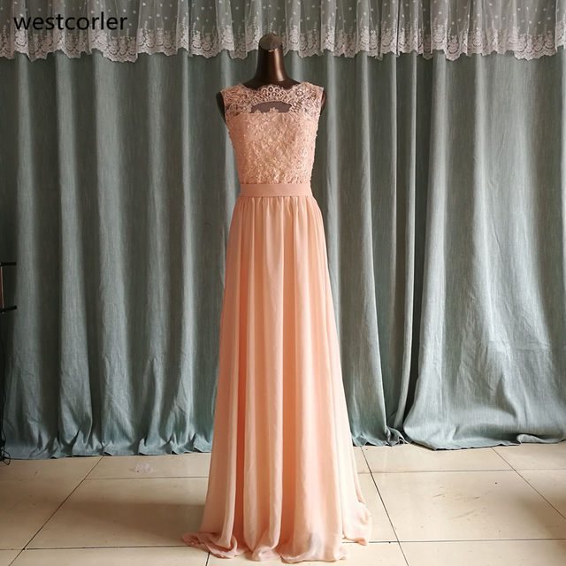 Online Shop Big Discount ! High Quality Chiffon Lace Long Peach ...