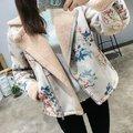 Женщины зимнее пальто шерсть лампы теплая куртка молнии куртки женский цветок отпечатано новый 2016 горячие продажа розовый черный большой размер SML груза падения