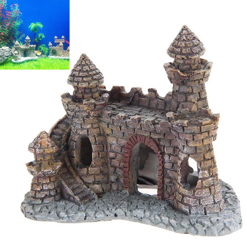 Resin Cartoon Castle Aquariums Decorations Castle Tower Ornaments Fish Tank Aquarium Accessories Decoration