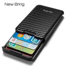 NewBring カードホルダースライド財布 Rfid ブロッキング炭素繊維男性女性のカードマネーケース財布