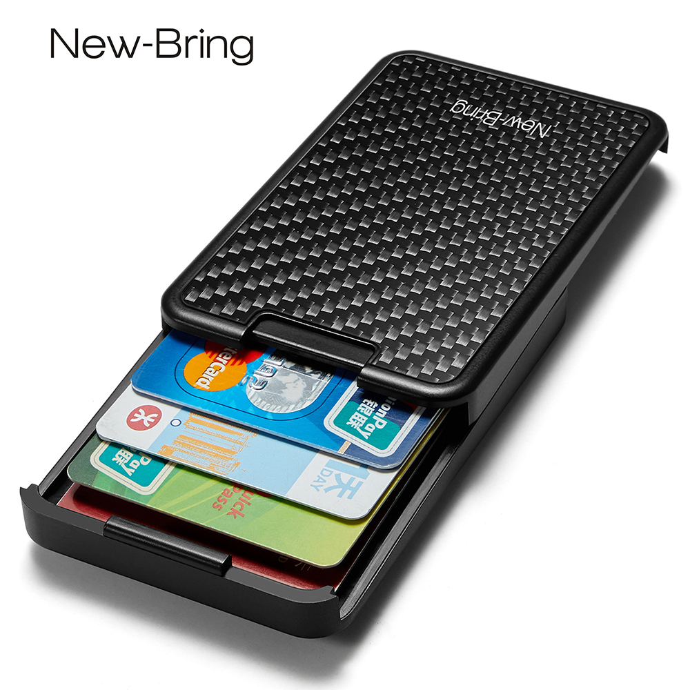 NewBring Slide Wallet RFID Blocking Carbon Fiber Credit ID Card Holder For Men Women Male Female Card Money Minimalist Purse