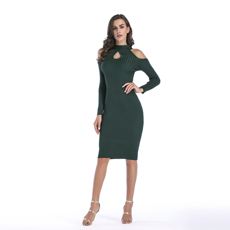 Fashion Autumn and Winter Women Long Sweater Knitted Dress Long Sleeves Sexy Female Party Red Black Green Strapless Slim Dress skullies gfs hot sale female tide leather braids knitted cap autumn and winter women s curling ear warmers headgear 1866784