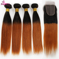 7a Ombre Virgin Brazilian Straight Hair 4 Bundles with Closure 1b/30 Blonde Human Hair Weave Ombre Brazilian hair with closure