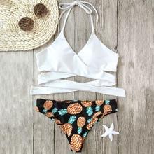 Pineapple Bikini Wrap Bandage Bikini Set Bathing Suit Sexy Swimwear Women 2017 Summer Beach Hot Biquini Brazilian Bikini
