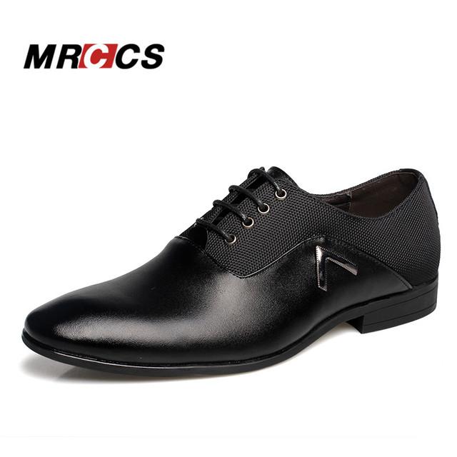 MRCCS Pointed Shoes Big Size 38-47 Business Men's Basic Casual Shoes,Black/Brown Leather Cloth Elegant Design Handsome Shoes