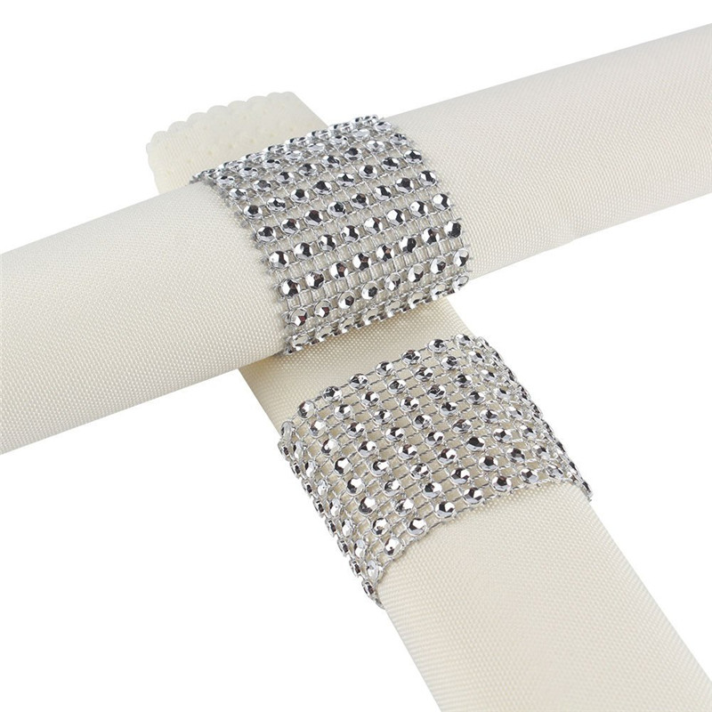100Pcs Silver 1 5 quot 8Rows Sparkly Diamond Rhinestone Mesh Bow Covers Napkin Ring Wedding Chair Sashes Decorative Crafts in Party DIY Decorations from Home amp Garden