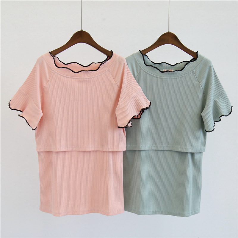 2018 Pregnant Women T-Shirts O-Neck Nursing Short Sleeve Tee Solid Color Summer Maternity Tops Breastfeeding Clothes
