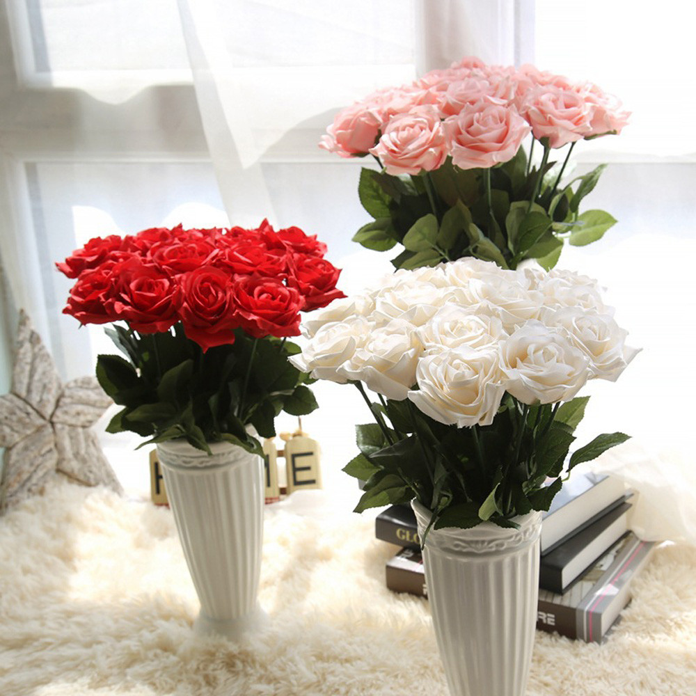 Artificial silk 1 PC French Rose Floral Bouquet Fake Flower Arrange Table Wedding Flowers Decor Party accessory Flores R2
