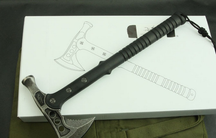 Multi Function Camping Handle Survival Hiking Hunting Hand Axe Fiberglass Handle Tomahawk Hammer Stone Wash Fine Cast Hatchet image