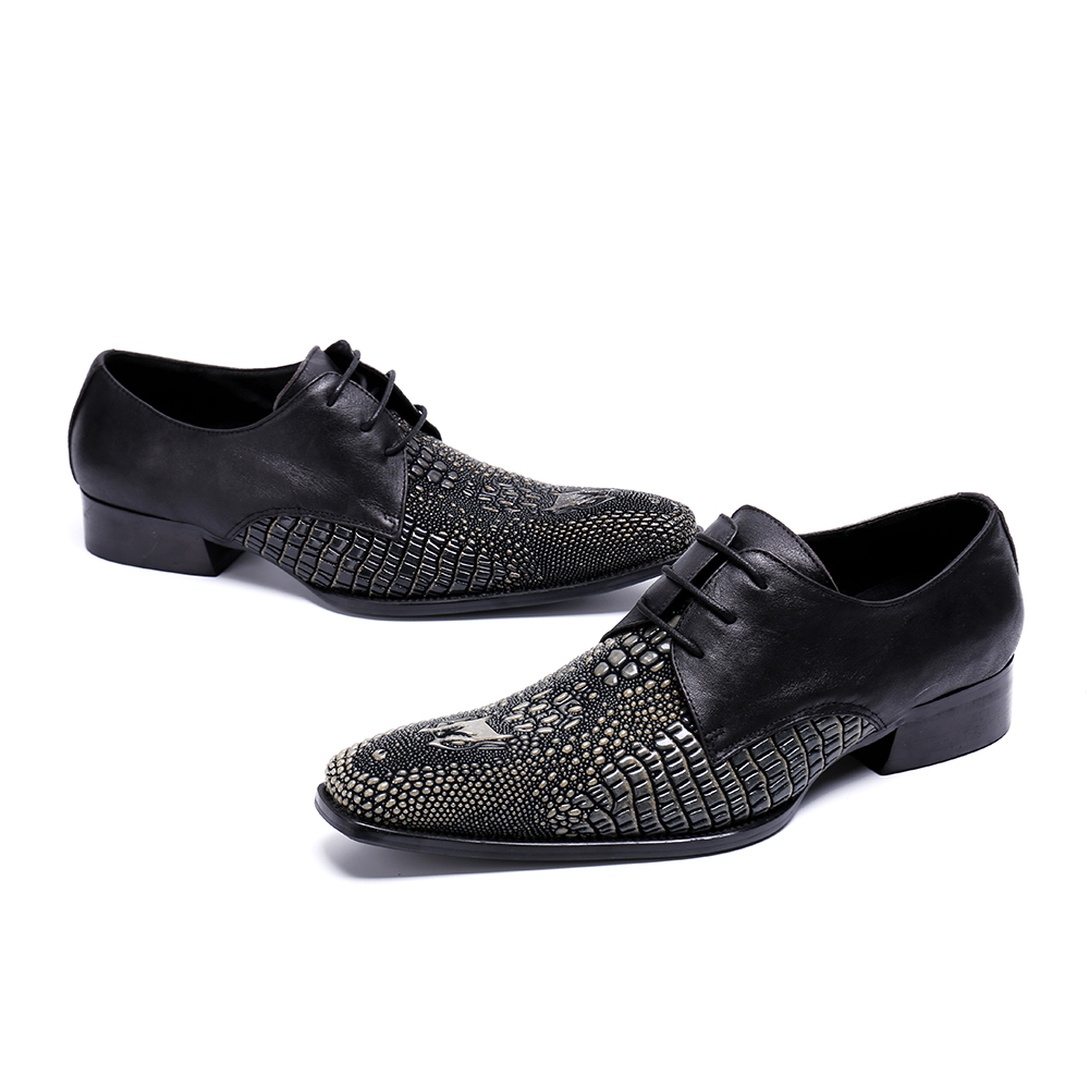 De Genuíno Size Casamento Couro Plus Partido Praça Pic Formal Mens Homme Homens As Deificação Sapatos Misturadas Cores Flats Chaussure Toe d6xtXOqw