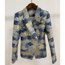 Alta qualidade nova moda 2020 designer blazer jaqueta feminina leão botões de metal duplo breasted cores pintura jacquard blazer