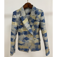 HIGH QUALITY New Fashion 2019 Designer Blazer Jacket Women's Lion Metal Buttons Double Breasted Colors Painting Jacquard Blazer