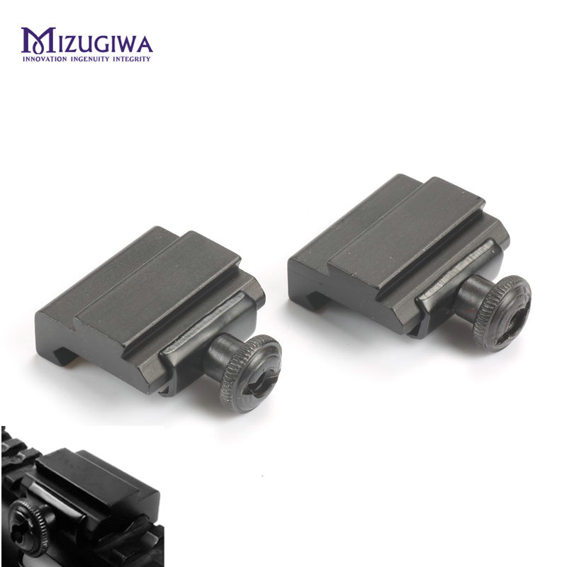 MIZUGIWA 1 Pair Flat Top 20mm To 11mm Weaver Picatinny To Dovetail Rail Adapter Base Mount Long 30mm Rail Pistol Airsoft Hunting