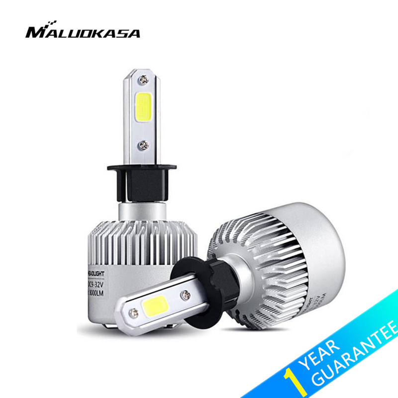 MALUOKASA 2PCs S2 Car COB H7 LED Headlight Bulb H1 HB2/9003/H4 Hi-Lo Beam H8/H9/H11 72W 8000LM Auto Lamp 6500K White Car-styling 72w 8000lm led headlight high beam for mitsubishi lancer or evolution x 2008 2012 car styling exterior car light source