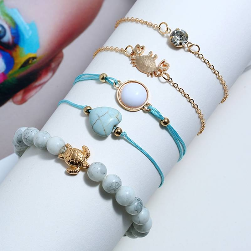Hot 5 Pcs set Bohemian Crab Turtle Heart Gem Stone Beads Woven Bracelet Set Women Charm Jewelry Accessories Mother 39 s Gift in Charm Bracelets from Jewelry amp Accessories