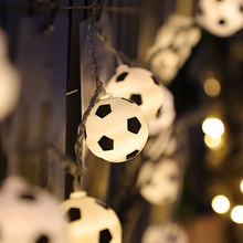 50 Led Cute Football Lantern Battery Plug String Lights Luminaria 5m LED Decoration For Christmas Garland On The Window New Year(China)