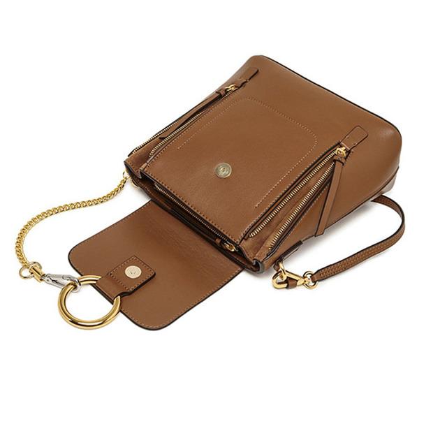 Twenty-four 2017 Women cow Flap Bag Chains Genuine Leather Female Ring Shoulder Bag Fashion Trend Sling Bag Mochila Small Solid