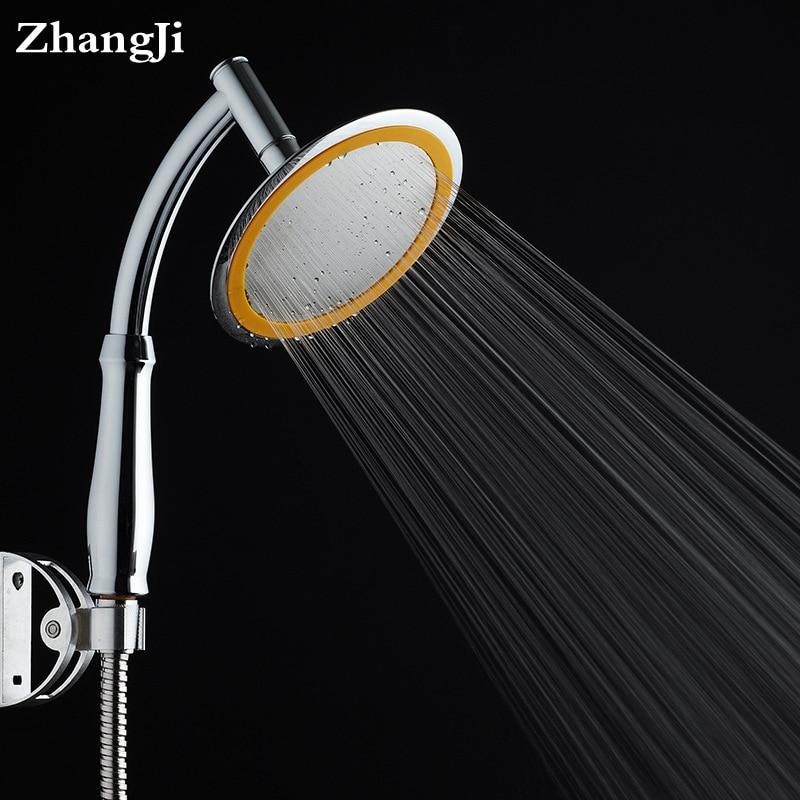 6 Inches Chrome ABS Plastic Bathroom Shower Head Stainless Steel Panel  Water Saving Rain Head Pressurized Big Showerheads ZJ108