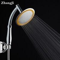 Zhang Ji 6 Inch Chrome ABS Plastic Bathroom Shower Head Stainless Steel Panel Water Saving Rain Head Pressurized Big Showerheads