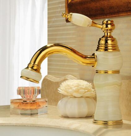 New Luxury Fashion Water Tap Solid Brass and Jade body Deck Mounted Bathroom basin Faucet Single Handle gold Sink Faucet brand new deck mounted chrome single handle bathroom