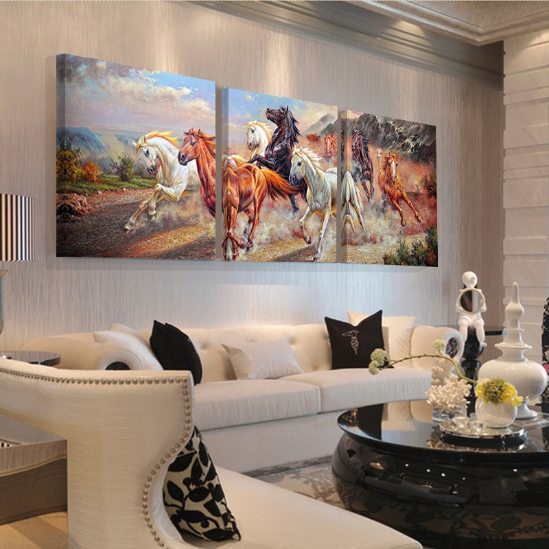 Running horse chinese letters wall art canvas painting hot - Home interior horse pictures for sale ...