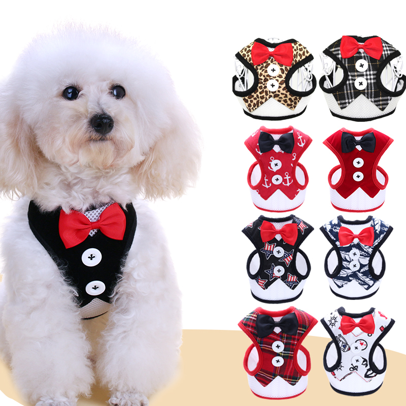 Small Dog Vest Harnesses With Leash Leopard Print Pet