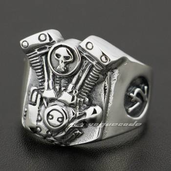 V2 Skull Motorcycle Engine 925 Sterling Silver Mens Biker Ring 8Y009