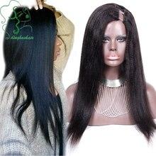 2016 Hot Selling Light Yaki U Part Wig Brazilian Human Hair Yaki Straight Upart Wig Virgin Hair Middle Part 130% Density Stock