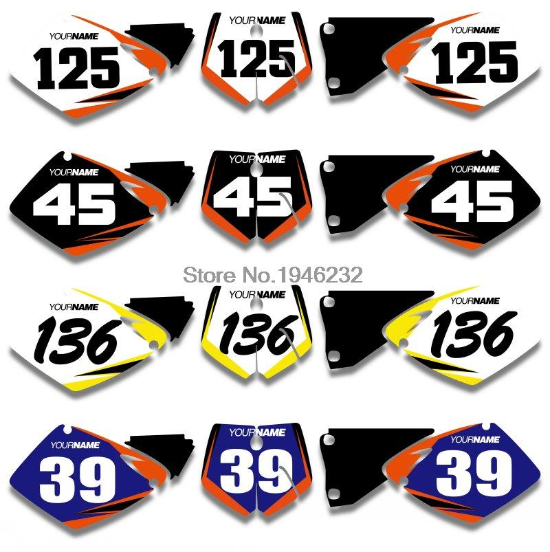 H2CNC Custom Number Plate Background Graphics Sticker & Decal For <font><b>KTM</b></font> <font><b>SX</b></font> MXC <font><b>125</b></font> 250 380 400 520 <font><b>2001</b></font> 2002 image