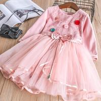 Nieuwe Lente Baby Meisjes Fairy Mesh Bloemen Jurk, prinses Kids Fashion Roze Witte Kleding 5 stuks/partij, groothandel
