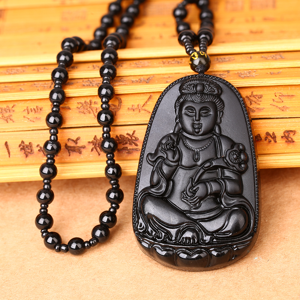 Beads Necklace Natural Black Obsidian Hand-Carved Lucky Buddha Amulet Pendant
