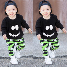 Soft hfeeling very cool to wear Toddler Baby Boys Girls Cartoon Ghost Tops Pullover Pants Halloween Outfits Set clothes(China)