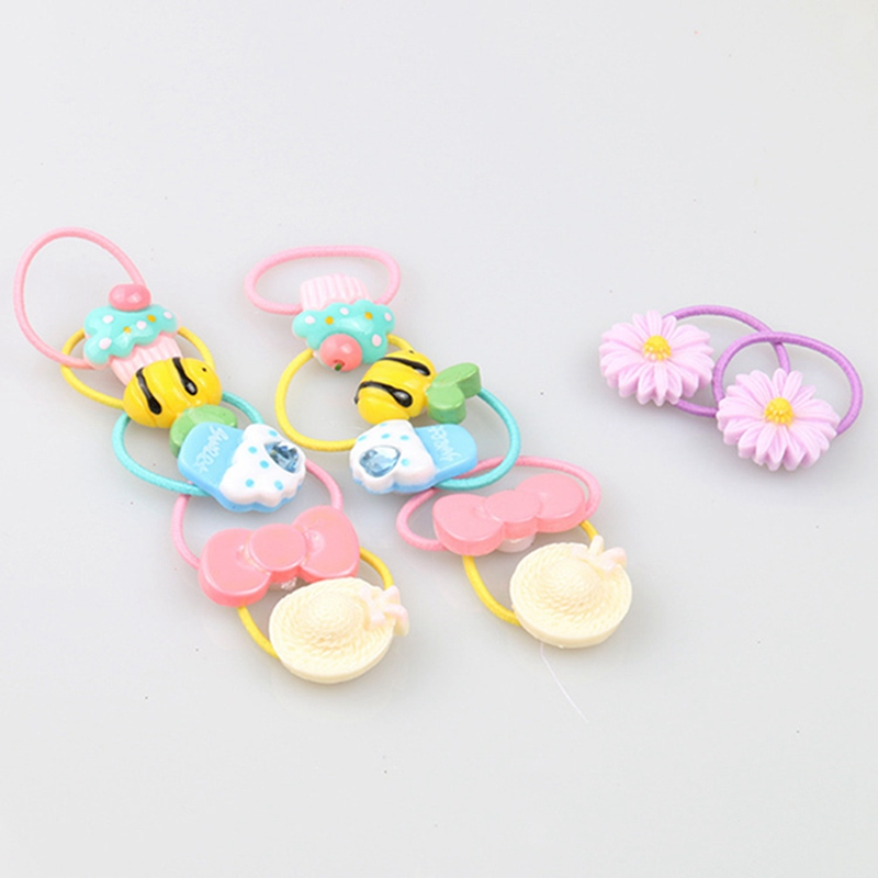 1 Pair Hair Rubber Bands For Kids Cute Cartoon Elastic Hair Rope Children Headband Princess Ponytail Holder Hair Accessories 1pc fruit slice multi patterns hair accessories girl women elastic rubber bands hair clips headwear tie gum holder rope hairpins