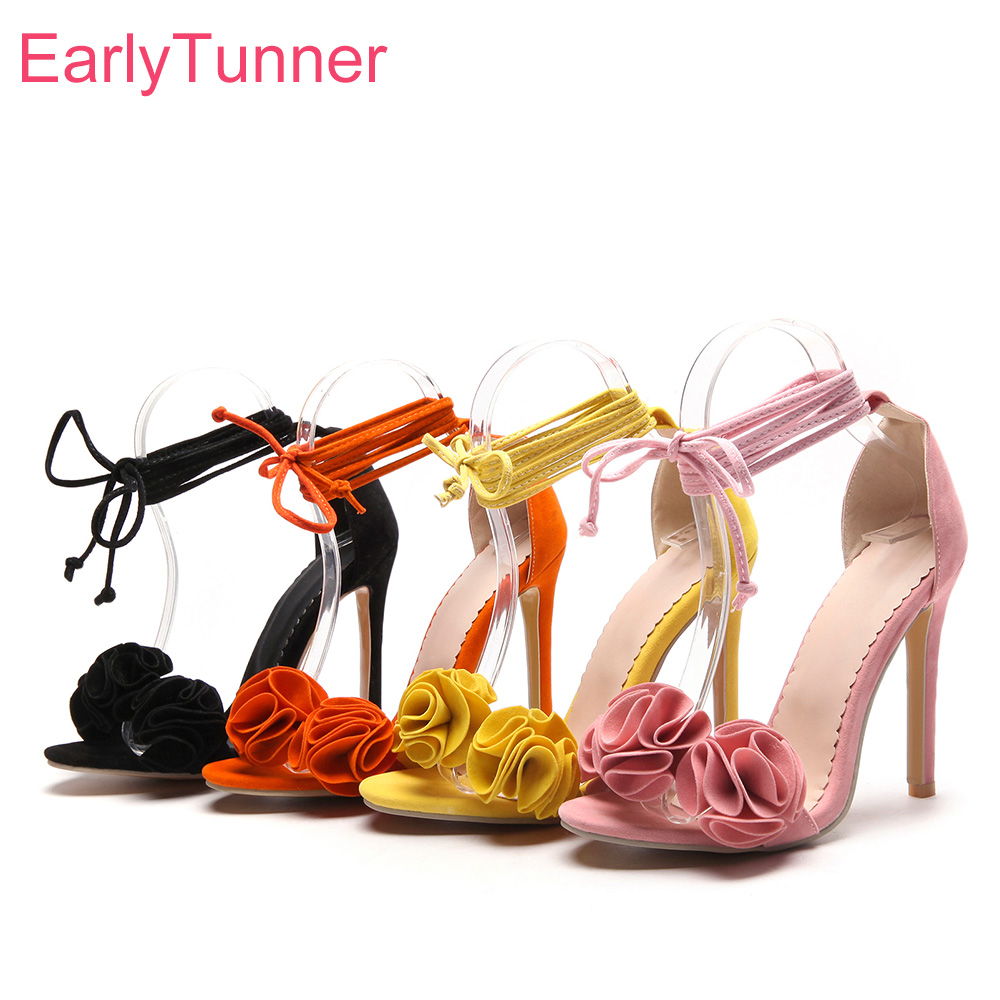 Brand New <font><b>Sexy</b></font> Orange Yellow Women Sandals Gladiator High Heels Lace Up Lady Floral Shoes EH12 Plus Big Size <font><b>10</b></font> 43 45 49 52 image