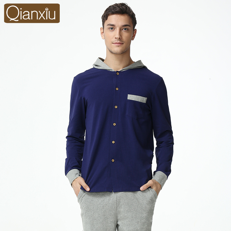 Qianxiu Hooded Lounge Wear For Men Spring Casual Pajama Sets Plus Size Solid Homewear 1608