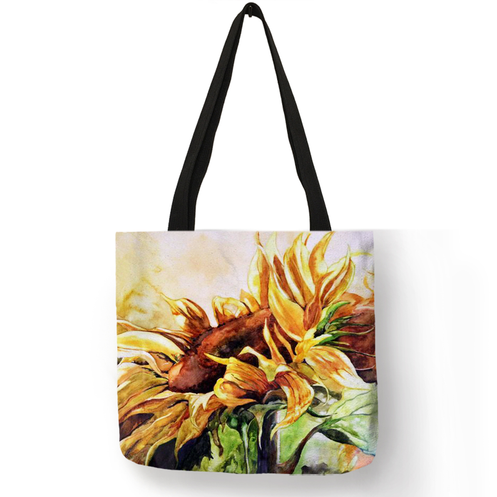 Excellent Bolso Shoulder Bag Oil Painting Style Sunflowers Handbag Eco Linen School Work Daily Use Casual Totes Bag
