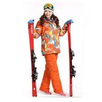 Dropshipping Waterproof Sportwear Female Ski Suit Women Winter Ski wear Top Hoodie Jacket Strap Pants snow jacket and pants