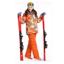 Dropshipping Waterproof Sportwear Female Ski Suit Women Winter Ski wear Top Hoodie Jacket Strap Pants snow jacket and pants