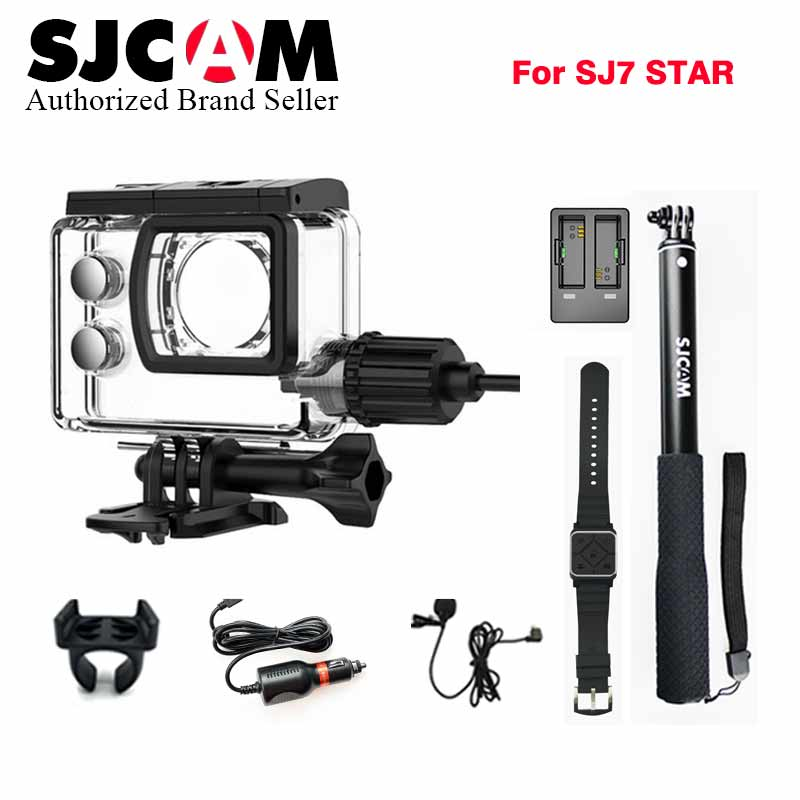 Original SJCAM Car charger+Microphone+Remote watch+Monopod+Motorcycle waterproof case+dual charger for sj SJ7 star Action Camera original sjcam car charger microphone remote watch monopod motorcycle waterproof case dual charger for sj sj7 star action camera