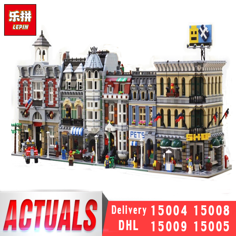 Lepin 15004 15008 15009 15005 City Street Series Architecture Models Sets LegoINGly Building Bricks Blocks Toys lepin 15008 2462pcs city street green grocer legoingly model sets 10185 building nano blocks bricks toys for kids boys
