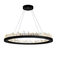 Modern Iceberg LED Crystal Chandelier Light Black Metal Ring Dining Room Restaurant Pendant Hanging Light Lamp