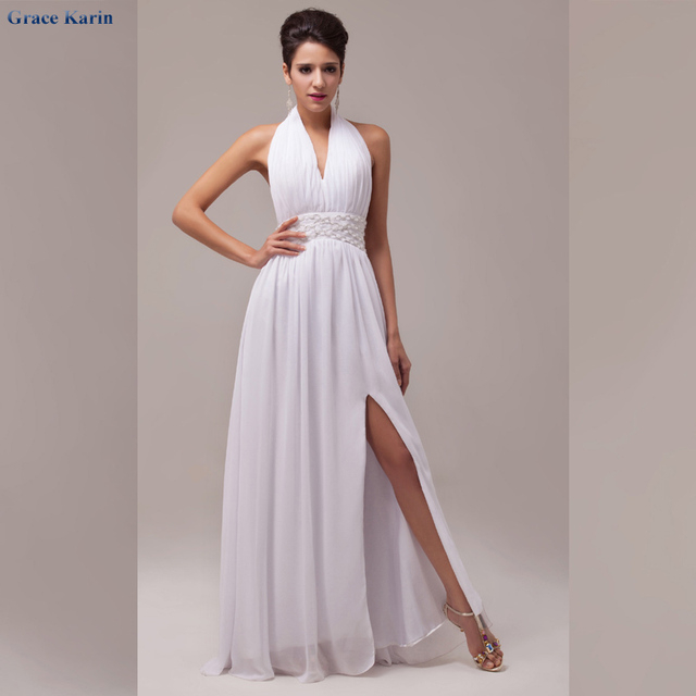 Grace Karin White Backless Evening Gown Dress Halter Prom Dresses ...