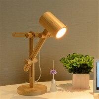 Wooden art Nordic table lamp modern simple creative personality fashion designer remote control long arm folding desk light
