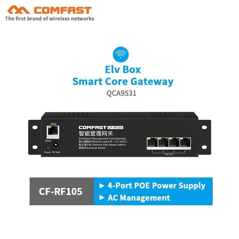 Comfast CF-RF105 100M Smart Core Gateway AC Gateway Routing with 4 LAN 10/100Mbps POE port 802.3 Ethernet Wifi Project router 880mhz core full gigabit gateway comfast cf ac100 ac gateway controller mt7621 wifi project manager with 4 1000mbps wan lan port