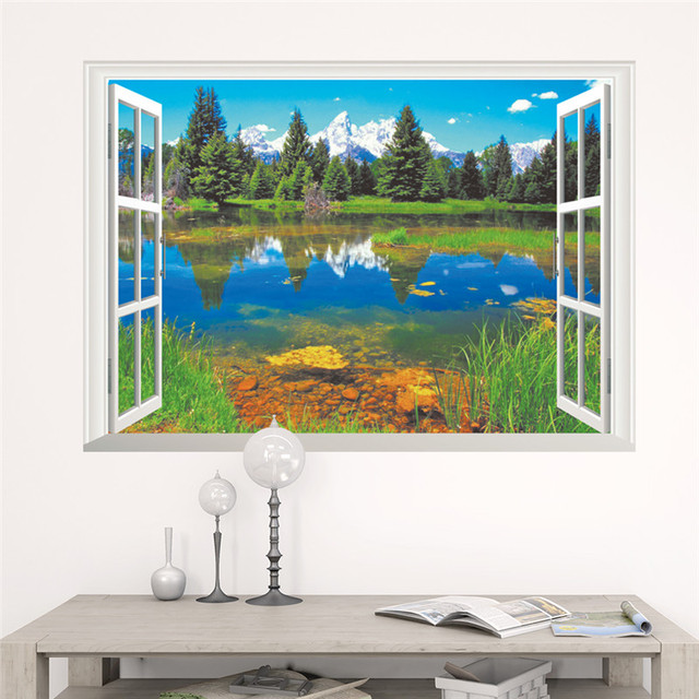 forest tree 3d window view scenery wall stickers kids living room