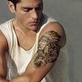 Водостойкая Временная тату-наклейка, волк, индийский этнический могучий воин, тату для мужчин и женщин, черные татуировки большого размера