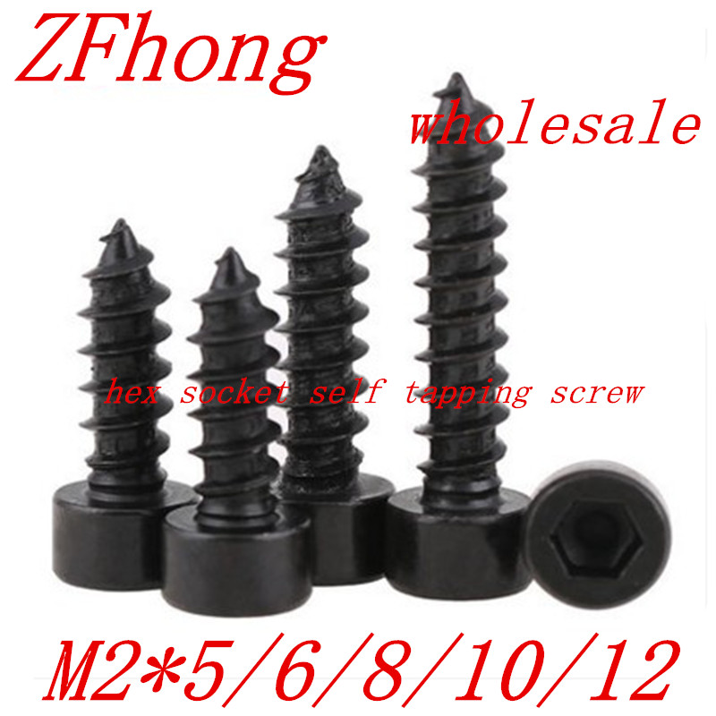 50pcs M2*5/6/8/10/12 Black Hex Hexagon Socket Cap Head self tapping screw Model Screw стоимость